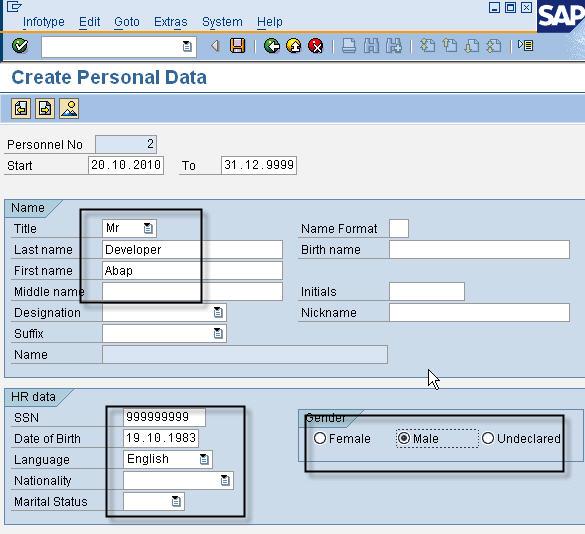 PA40 - Create Personal Data