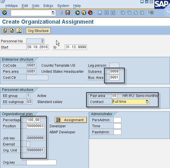 PA40 - Create Organizational Data