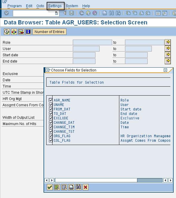 SE16 - Selection Screen