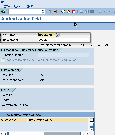 SU20 - Define Authorization Field