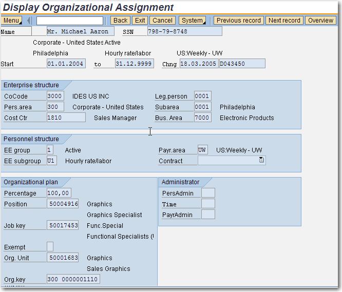 PA30 - Infotype 0001