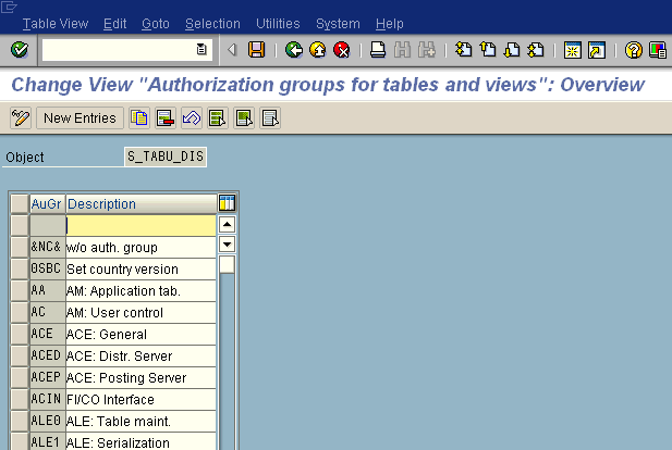 SE54 - Create Table Authorization Groups