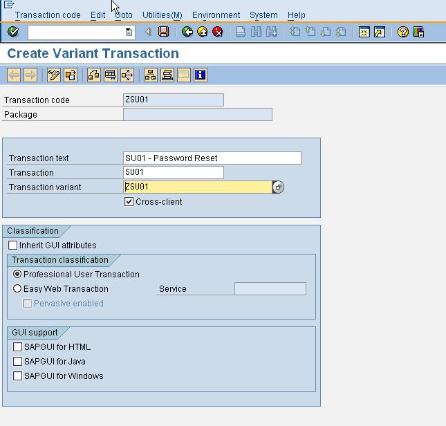 SE93 - Create variant transaction 2