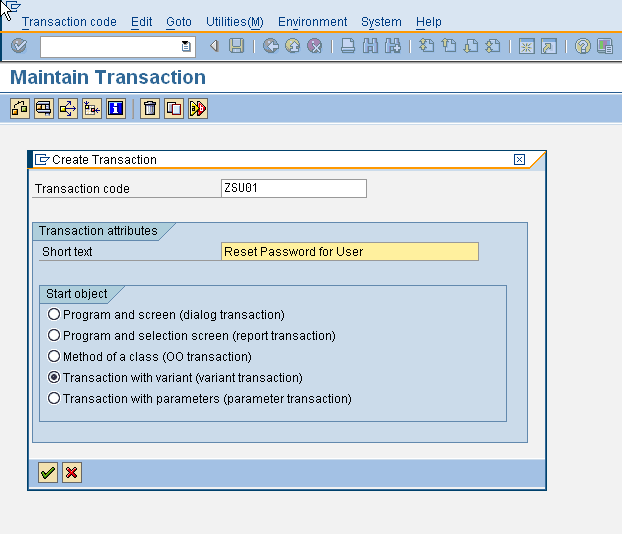 SE93 - Create variant transaction