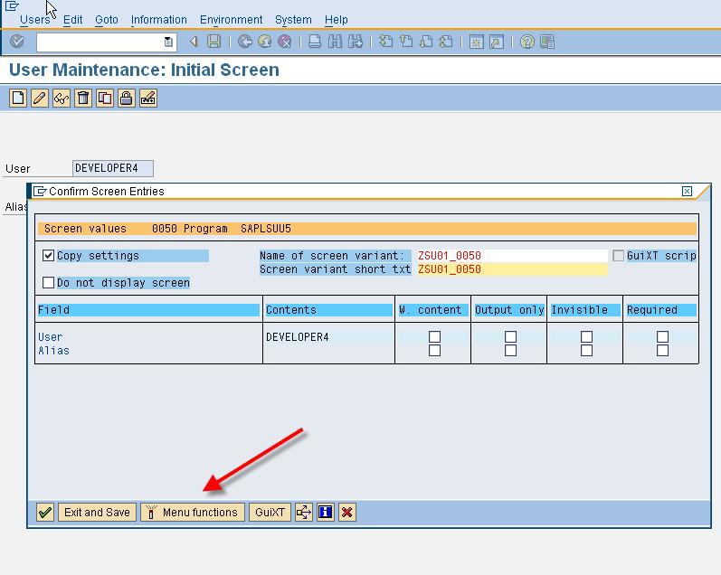 SHD0 - Confirm screen entries for SU01 initial screen