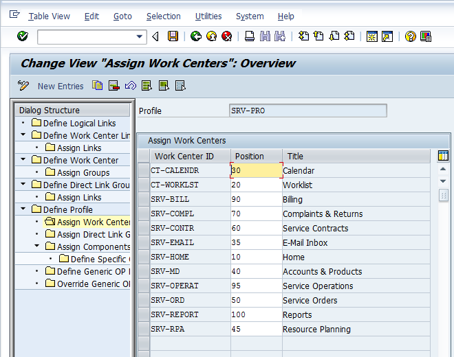 Nav Bar Profile - Assign Workcenter