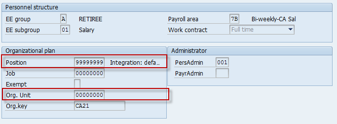 Org Assignment - Default Position with no Org Unit