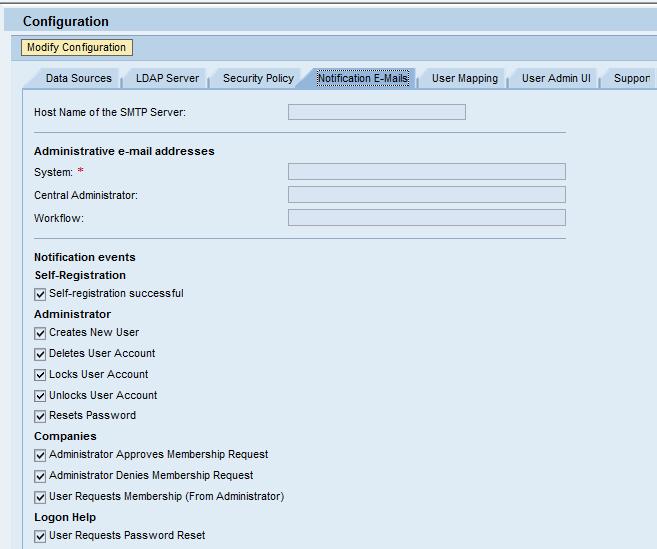 Identity Management - Configuration - Notification Emails