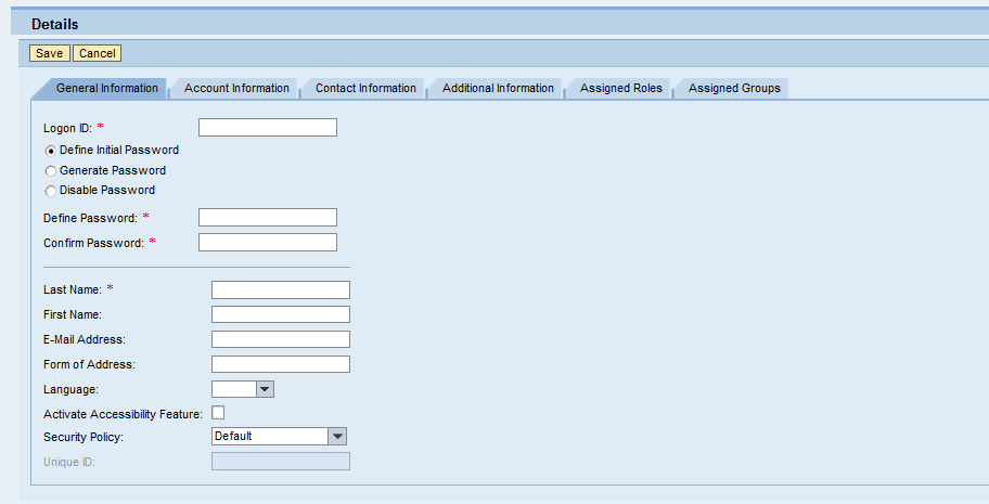Identity Management - User - General Details
