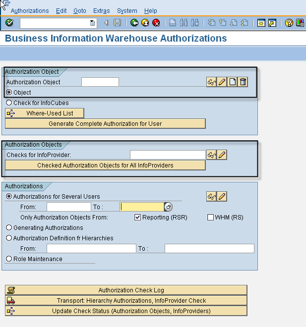 SAP BW – Sap Security Pages